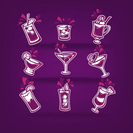 jugo de frutas: colección de cócteles de vectores para su menú de la fiesta en el fondo violeta oscuro