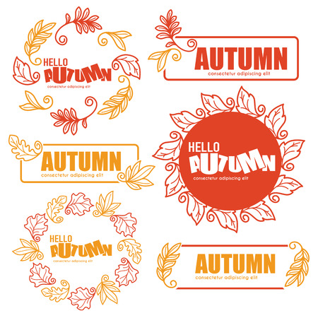 florid: ector collection of doodle autumn leaves emblems and frames