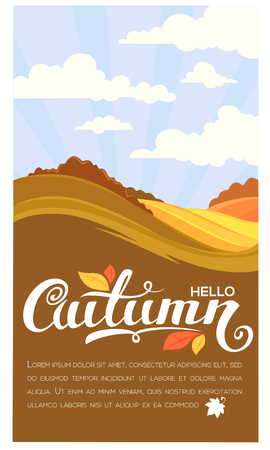 Hello autumn, rural landscape with lettering composition, flyer template