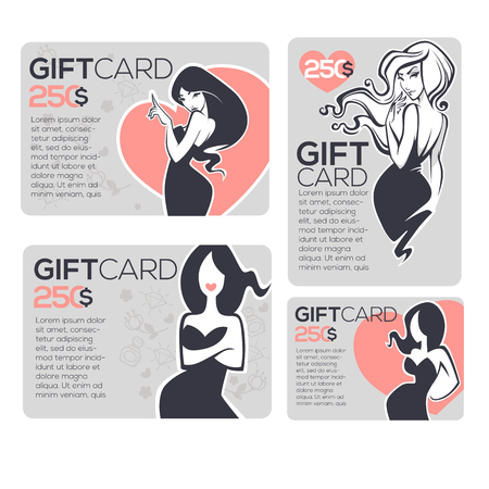 beauty salons: fashion and beauty gift cards design templates collection Illustration