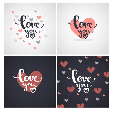 saint: love you lettering, template designs for Saint Valentine congratulation cards, banners Illustration