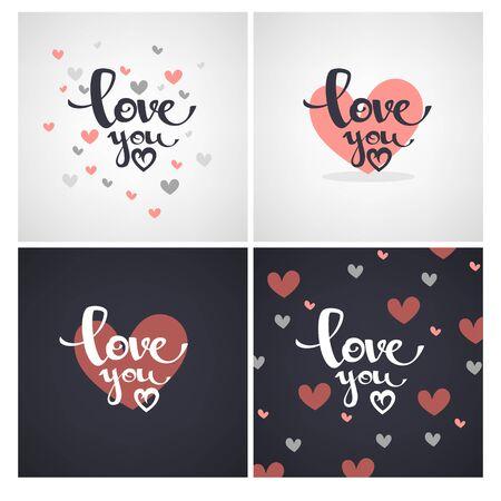 te amo letras, diseños de plantillas para San Valentín tarjetas de felicitación, banderas Ilustración de vector