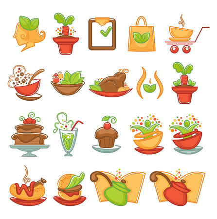 natural, eco and organic food icons and emblems Illustration