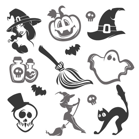 verctor silhouettes and objects for you halloween design
