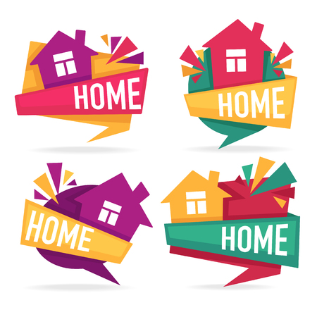 my little home, vector collection of property  tags, banners and stickers