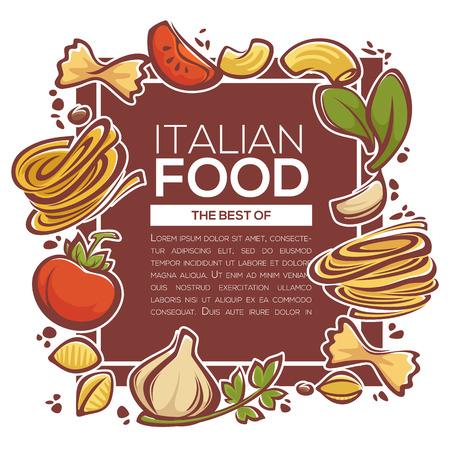 garlic bread: pasta ingridients, italian food design for your spaghetty menu Illustration