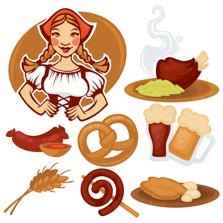 vector German girl and collection of traditional German food for your Oktoberfest menu Vectores