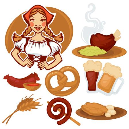comida alemana: vector chica alemana y recogida de comida tradicional alemana para el menú de Oktoberfest Vectores