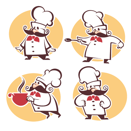 cooking symbols, food and chef silhouettes, vector collection emblems and logo for your menu Illustration