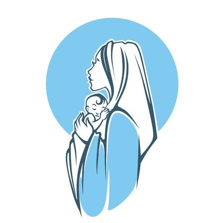 virgen maria: ilustración vectorial de María virgen y su bebé acebo Vectores