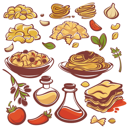 all for your pasta, vector ingridient collection for you spaghetti menu