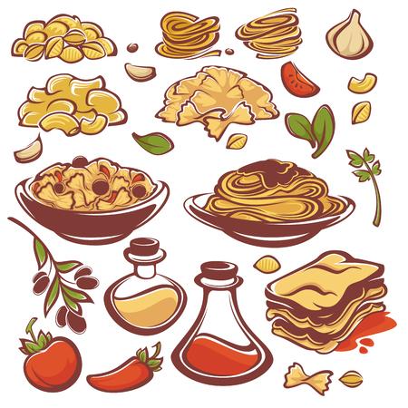 Todo por la pasta, la colección ingridient vectorial para el menú de espagueti Foto de archivo - 65973296