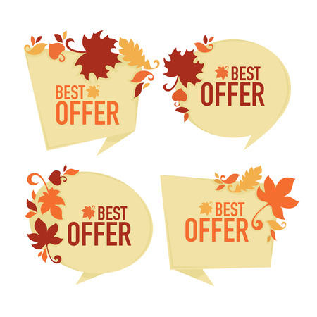 paper tags: the best offer,  vector collection of paper autumn discount bubble tags, banners and stickers