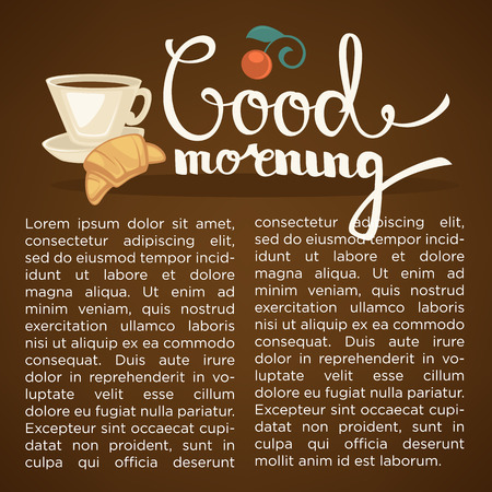 dark brown background: good morning lettering composition with cup of coffee on dark brown background Illustration