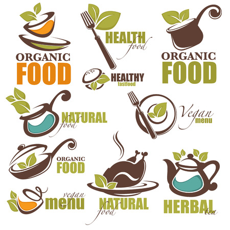 salat: healthy, organic, green and vegan foor logo, icons and emblems collection