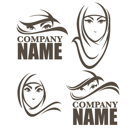 your logo: beautiful face of arabic woman, vector illustration for your logo