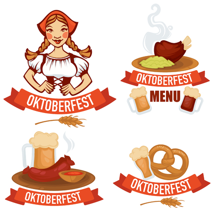 bavarian girl: vector collection of oktoberfest emblems logo and stickers in cartoon style food and beer