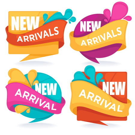 New arrivals, vector collection of bright season  tags, banners and stickers