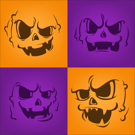 horrible: horrible pumpkin faces for your halloween greeting design