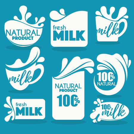 vector collection of fresh and natural milk emblems, symbols