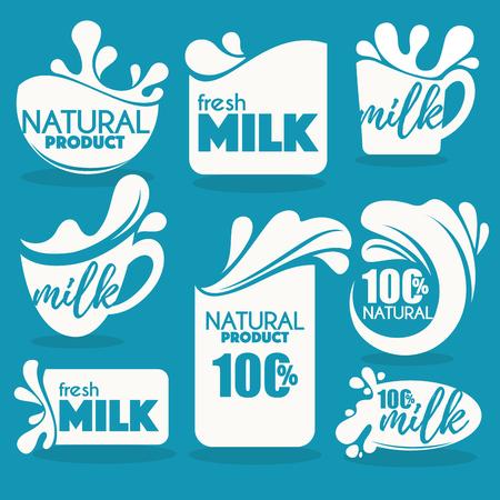 vector collection of fresh and natural milk emblems, symbols Illustration