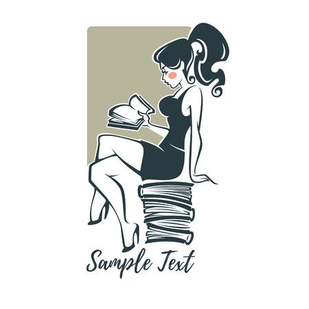 yourg, sexy y bellezas, leyendo un libro, ilustración vectorial