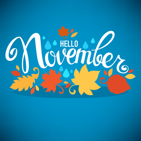 hello November, bright fall leaves and lettering composition flyer or banner template Illustration