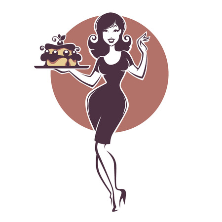 beauty retro pinup girl holding a delicious tasty cake Illustration
