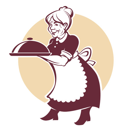 vector portrait of lovely grandmother and home made food