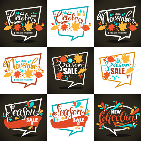 autumn season: autumn season sales and discount bubbles and tags on dark and white backgrounds collection Illustration