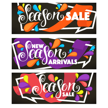 new arrivals: vector collection of bright sale tags, banners and stickers templates Illustration