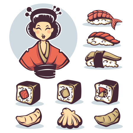 susi: vector image of Japanese girl with traditional food, cartoon collection