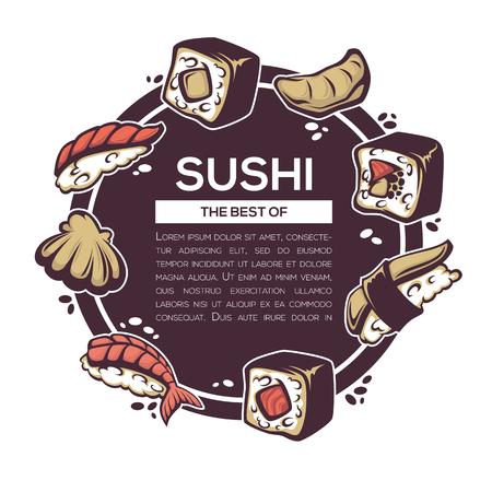 susi: Japan food background for your sushi menu Illustration