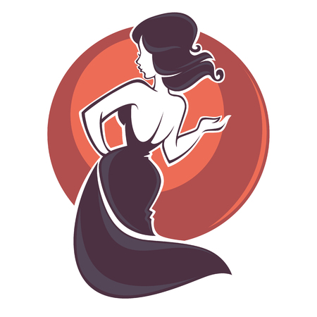 singing and dancing beautiful brunette woman, vector illustration