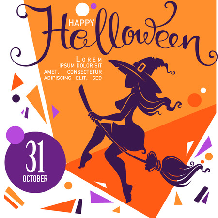 adolescent sexy: chaotic halloween party invitation or greeting card with attractive witch silhouette and lettering composition, template design