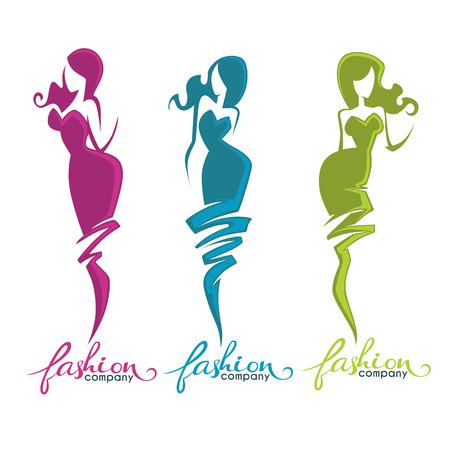 lady: fashion and beauty logo and emblem Illustration