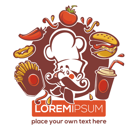 traditional american fastfood emblem for your logo, banner or flyer template