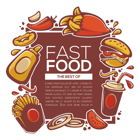 best of american fastfood ingredients for your menu, banner or flyer template