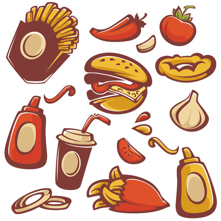 food ingredient: vector collection of fast food objects and ingredient for your american menu