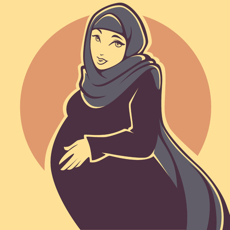 beautiful arabian pregnant young woman, vector illustration Illustration
