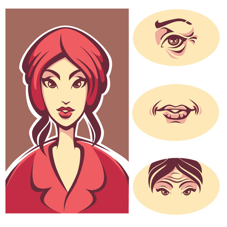 wrinkled face: skin problem, beauty young lady and wrinkled woman skin, vector illustration Illustration