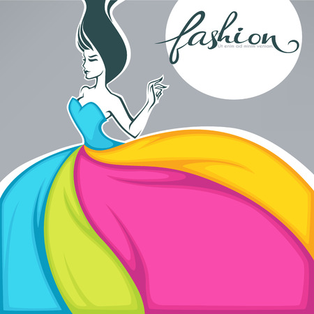 girl in dress look like a colorful fabric, fashion banner, card, sticker, flyer background vector template