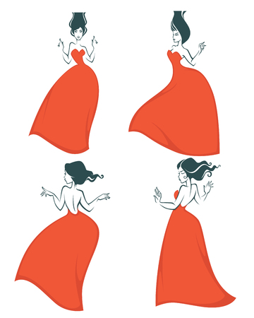 beauty girls: beauty girls in red dresses silhouettes emblem collection Illustration