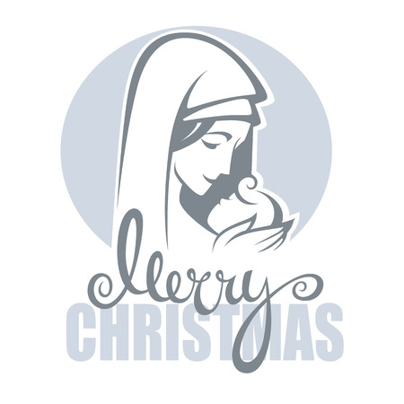 virgin: vector illustration of  virgin Mary and her Jesus Christ baby and Merry Christmas lettering composition