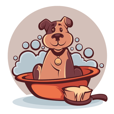 wash your pet, funny cartoon dog taking a bath