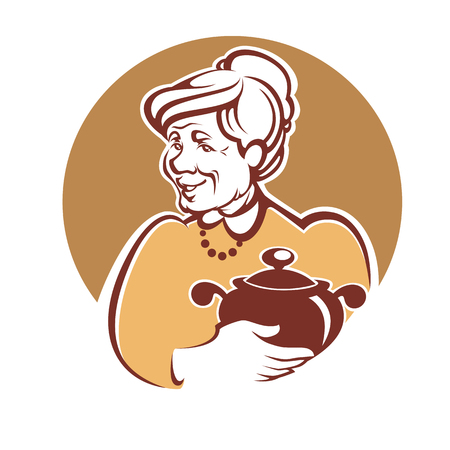 vector portret van mooie grootmoeder en zelfgemaakte gerechten