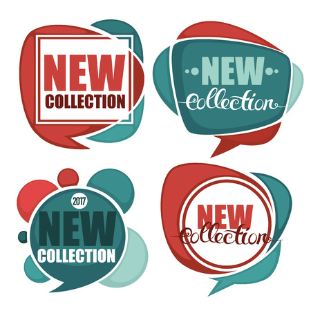 new arrivals: new collection, vector collection of bright discount bubble tags, banners and stickers Illustration