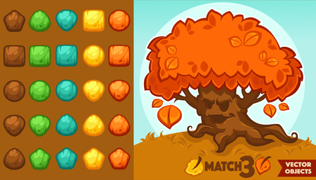 cerillos: vector collection of match 3 objects, blocks and puzzles for your mobile game