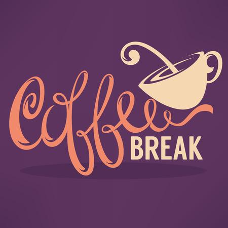 Koffiepauze, Hipster Vintage Gestileerde Lettering voor uw logo