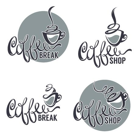 original: coffee shop, vector collection of lettering logo template with omage of decorative cup Illustration